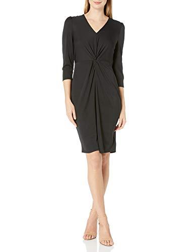Amazon Brand - Lark & Ro Women's Long Sleeve Matte Jersey Twist Front Dress, Black, M