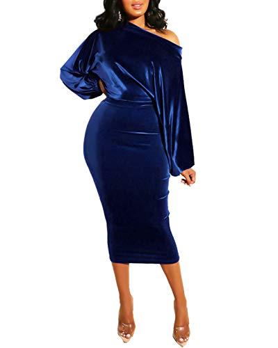 ECHOINE Women Party Dress Sexy Velvet Long Sleeve Off Shoulder Pencil Midi Dress Plus Size 2X Royal Blue