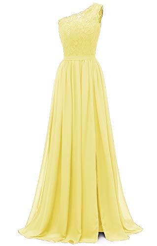 yinyyinhs Damen EIN Schulter langes Abendkleid Spitze Chiffon Brautjungfernkleid Side Split Abendkleider mit Taschen Größe 42 Gelb