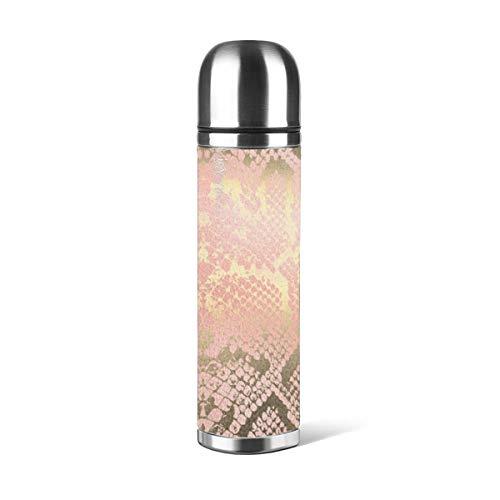 Art Fan-Design - Botella de agua de acero inoxidable, diseño contemporáneo, color dorado, rosa y blanco pitón con piel de serpiente aislada al vacío de piel a prueba de fugas, contenedor de viaje de doble pared, termo de 500 ml