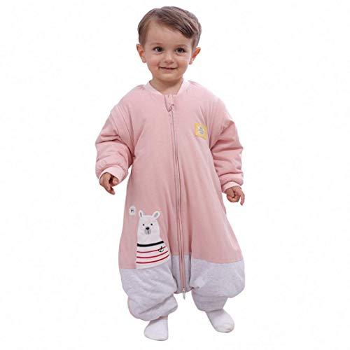Saco de dormir para bebé, invierno, para niños, niñas, recién nacidos, pelele de 2,5 tog, con pies, para todo el año (tamaño del cuerpo: 90 – 105 cm, oso polar, color rosa y gris)