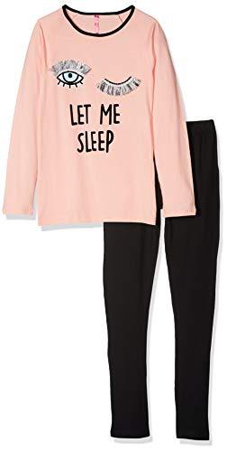 Lina Pink EF.CILS.PL2 Conjuntos de Pijama, Negro (Pecho/Negro Pecho/Negro), 10 años para Niñas