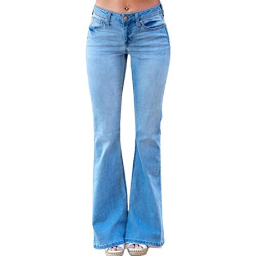 Women High Waist Slim Fit Distressed Flare Jeans Daily Leisure Elasticated Stretch Loose Denim Pants with Pockets 4XL