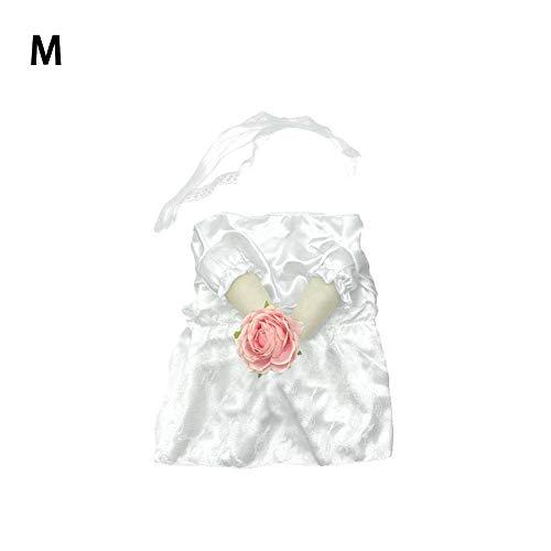 wisedwell Brautkleid für Hunde Schwarz Anzug Hochzeits Kleider Kostüm Weiß Hochzeit Skleid mit Kopfschmuck Blume für kleine mittelgroße Hunde