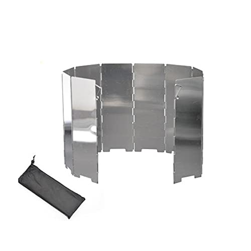 Tekaopuer 10 platos plegable al aire libre camping cocina viento pantalla estufa de gas de aluminio escudo para barbacoa picnic camping equipo con una bolsa de cordón