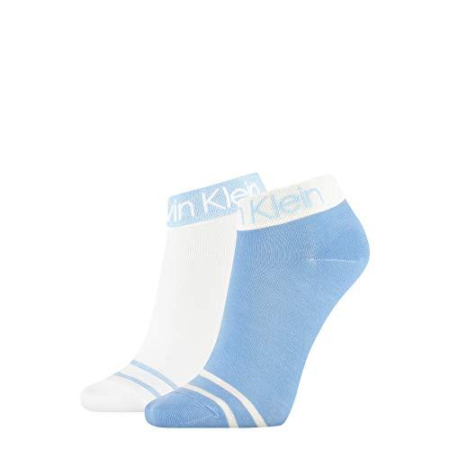 Calvin Klein Short Sos Legwear Logo Zoey Socks Calcetines, azul claro, Talla única para Mujer