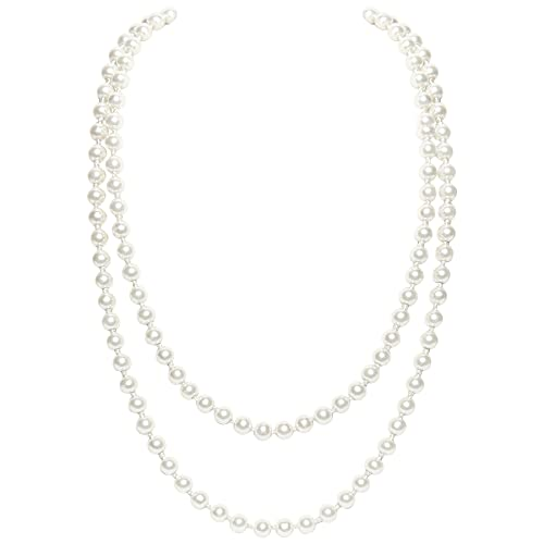 BABEYOND Art Deco Fashion Faux Pearls Necklace 1920s Flapper Beads Cluster Long Pearl Necklace for Gatsby Costume Party