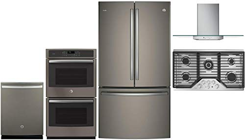 GE Profile 5 Pcs Kitchen Appliance Package with 36' French Door Refrigerator, 36' Gas Cooktop, 36' Wall Mount Hood, 27' Electric Double Wall Oven and 24' Built In Fully Integrated Dishwasher in Slate