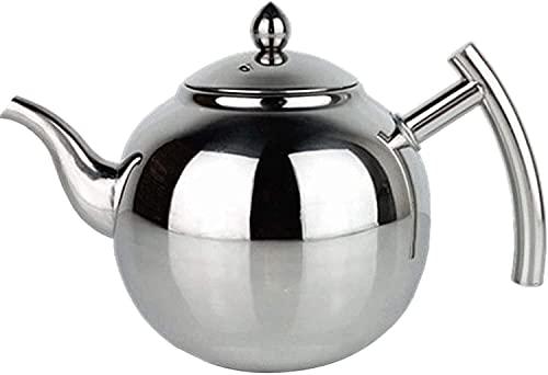 Juego de té de acero inoxidable, con filtro de malla para cafetera, hotel, restaurante, oficina, cocina, cocina de inducción (color: plata, tamaño: 1 L) (color: plata, tamaño: 2 L)