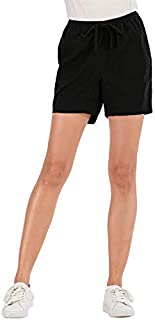 NA Women's Drawstring Elastic Waist Casual Comfy Beach Black Short with Pockets