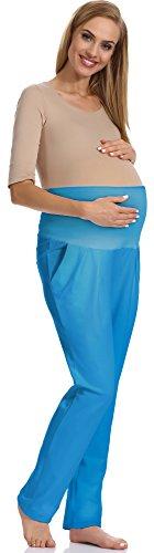 Be Mammy Premamá Pantalones Embarazada Verano Ropa de Maternidad Lactancia Mujer GX207 (Azul, XXL)