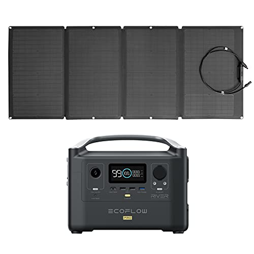 EF ECOFLOW RIVER Pro Portable Power Station 720Wh with 160W Solar Panel, Power Multiple Devices, Recharge 0-80% Within 1 Hour, for Camping, RV, Outdoors, Off-Grid