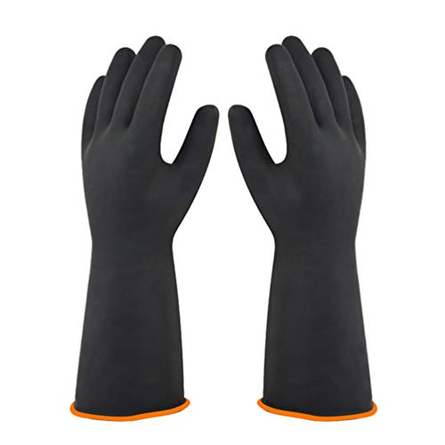 DOITOOL Chemikalienbeständige Handschuhe Hochleistungs-Latexhandschuhe Arbeitsschutz wasserdichte Gummihandschuhe Ölverschmutzung für den Garten Outdoor Office Home Größe 35cm