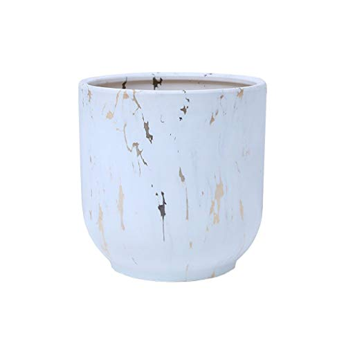 zlw-shop Fioriera Pentola di Fiori in Ceramica Invia Vassoio di plastica Giardino Esterno Giardino Domestico Soggiorno Ufficio Sala da Pranzo Decorazione Vaso di Fiori Bianchi con Foro Vaso da Fiori