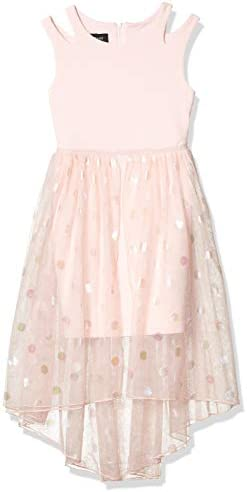 Amy Byer Girls Knit Split Strap Bodice and Chifffon Skirt Dress Blush 16 product image