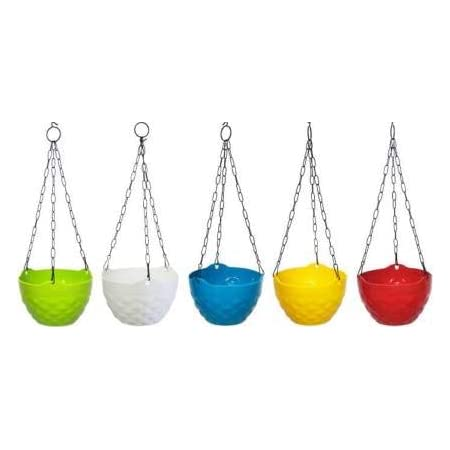 Digionics Hanging Pot- A Set of Five pots Plant Container (Plastic, External Height - 19 cm) Pack of 5