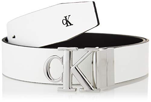 Calvin Klein Jeans Mono Round Rev Plaque 30MM Cintura, Nero/Bianco, 80 cm Donna
