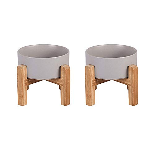 Grey Ceramic Elevated Raised Dog Bowls - Dog Food Dish with Stand - Double...