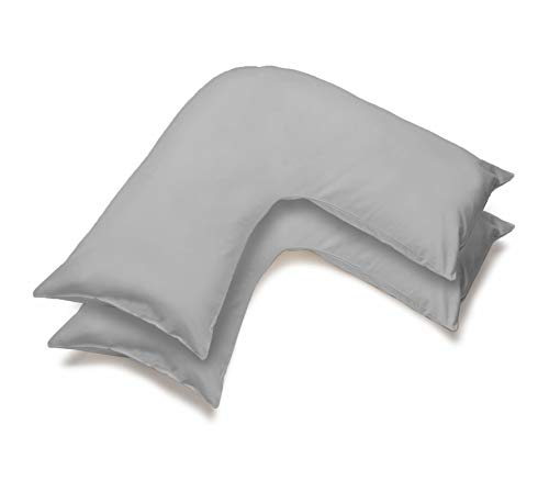 mFabrics Pack of 2 | Poly-Cotton Plain Dyed V Pillow Covers | UK V-Shaped Pillowcase Pair (Grey)