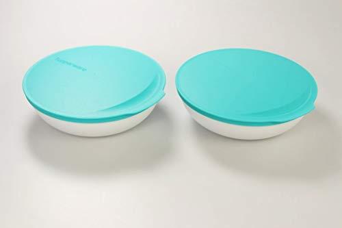 Tupperware Allegra 740 ml türkis/weiß Schale Schüssel servieren Servierschale (2) 36633