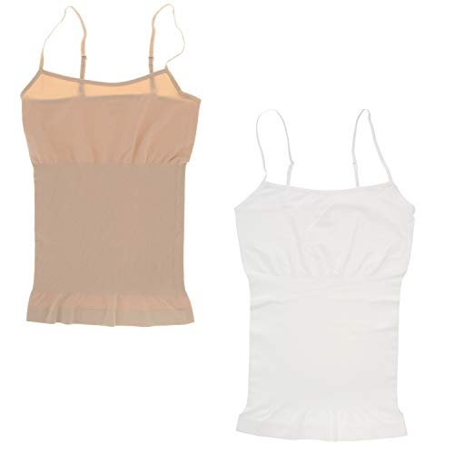 Marilyn Monroe Intimates Cami modeladora de corpo sem costura (2 peças), Nude, White, Medium
