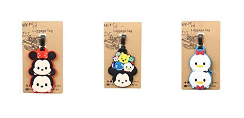 Set of 3 - Super Cute Kawaii Cartoon Silicone Travel Luggage ID Tag for Bags (Tsum Tsum B)