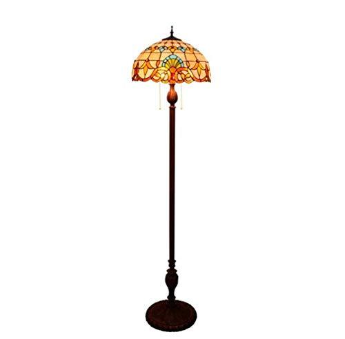 Vloerlamp in Tiffany-stijl met voetschakelaar en ritssluiting, 16 inch barok, getint glas, luifel antieke bodem hars vloer 64 inch hoogte woonkamerlamp