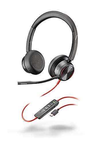 Poly Blackwire 8225 - Auriculares estéreo con Conector USB-C, cancelación Activa de Ruido y Brazo Flexible para micrófono, Color Negro