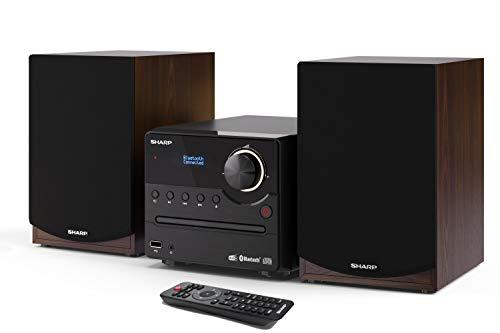SHARP XL-B517D(BR) Microchaîne Sound System stéréo avec Radio Dab, Dab+, FM, Bluetooth, CD-MP3, Lecture USB, Haut-parleurs en Bois et 45 W Marron