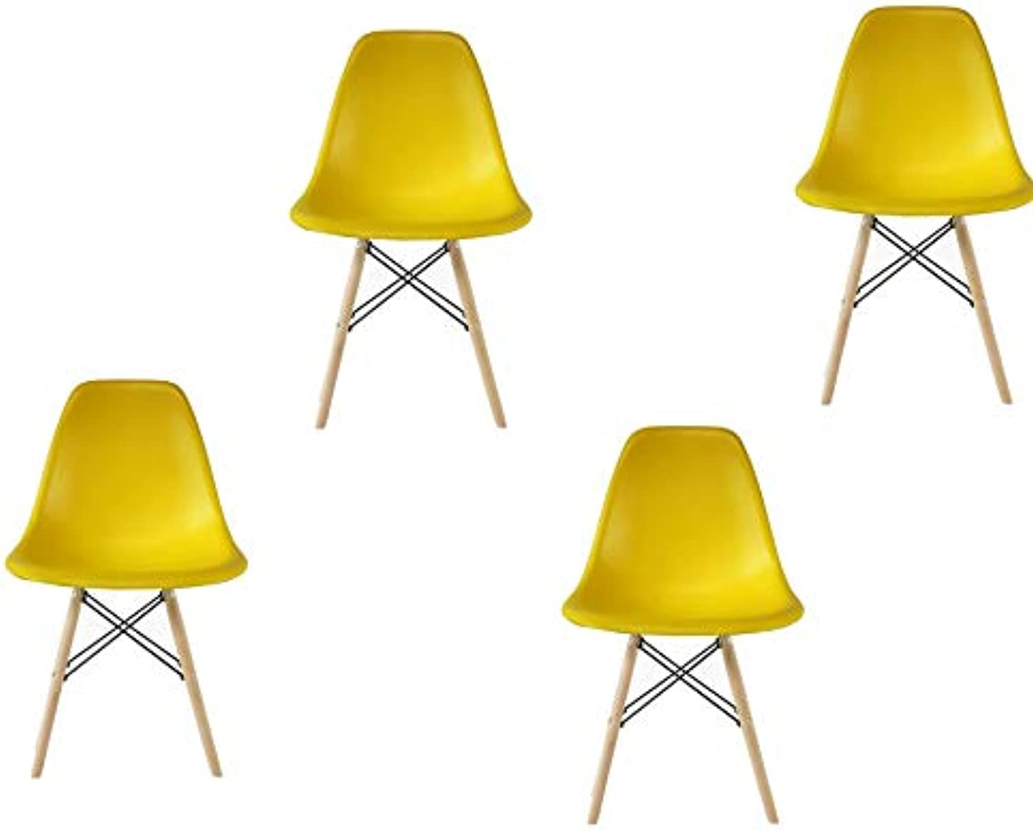 silver Import PDI-PC-0116W Eames Style Side Chair with Natural Wood Legs Eiffel Dining Room Chair, Set of 4, Yellow