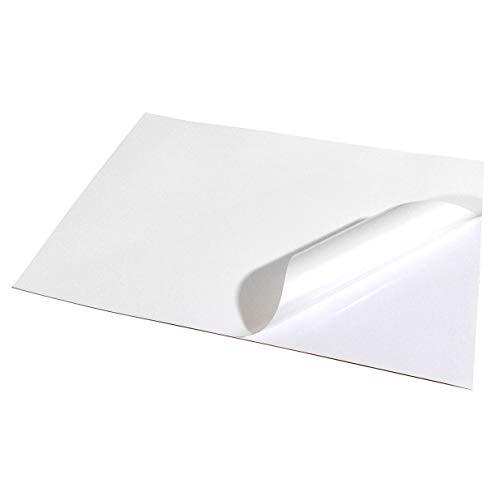 EVG fogli bianchi impermeabili, formato A4, lucidi, in vinile, auto-adesivi di alta qualità, per stampa a getto d'inchiostro (Confezione da 5 pezzi)