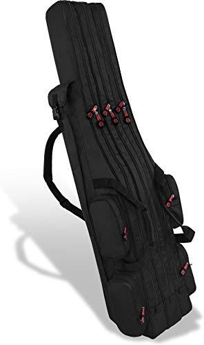 normani XXL Angel Tasche Futteral 190cm oder 210cm Rutentasche Anglerrucksack - 8 Taschen für 6 Ruten und Kescher Farbe Schwarz Größe 190 cm