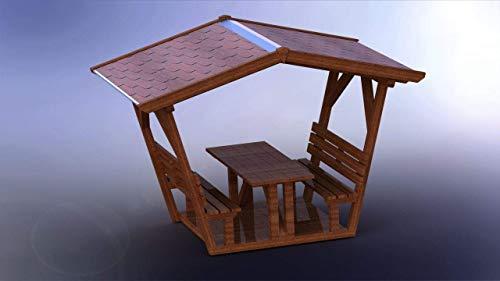 überdachte Sitzgruppe - Nadelklausi I Möbel aus starkem massivem Konstruktionsvollholz I Waldschänke I Freisitz IGartenmöbel I Outdoormöbel I Made in Germany