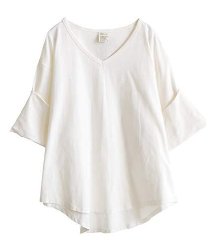 [ズーティー] zootie デザインPlus ロールアップスリーブ ビッグTシャツ オフホワイト フリーサイズ