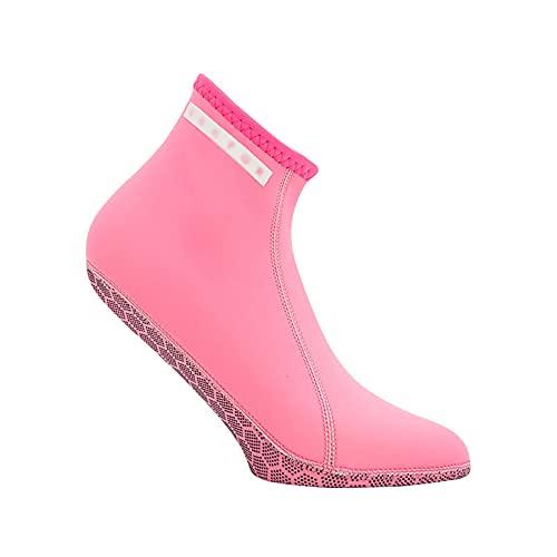 QAOSHOP Calcetines de buceo elásticos para mujer, de 3 mm, antideslizantes, para buceo, a prueba de frío, calcetines de buceo, calcetines de traje de neopreno calientes, color rosa, XS