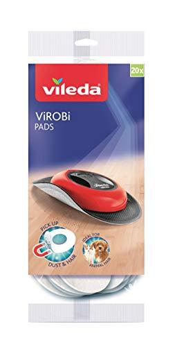 Vileda Virobi Ricambio Panni Elettrostatici Usa e Getta, Cattura Polvere, Ricambio Robot Virobi, per Pavimenti, Confezione da 20 Pezzi