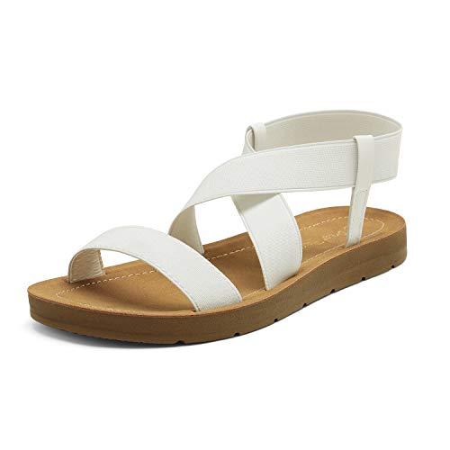 DREAM PAIRS Women's White Flat Sandals for Women, Open Toe Elastic Cross Ankle Strap Fashion Summer Flat Sandals Size 8.5 M US Elena-1