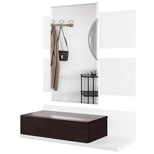 COMIFORT Recibidor Colgante - Mueble de Entrada con Cajón, Espejo y Estante de Estilo Nórdico y Moderno, Muy Resistente y Estable, de Color Blanco y Wengue