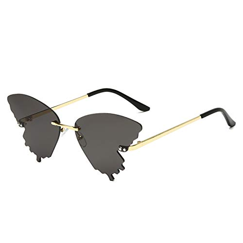 SXRAI Gafas de Sol Hombre Mujer Moda Uv400 Azul Rosa Gafas Gafas de Sol sin Montura,C2