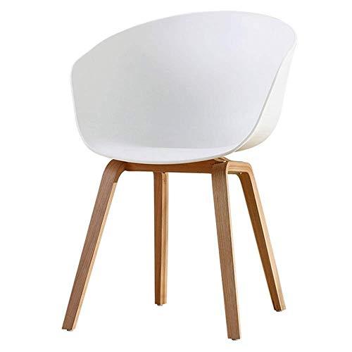 JIEER-C Silla de comedor de plástico para el hogar, sillas de escritorio de madera maciza natural, patas de salón de diseño contemporáneo, silla de salón, peso de 120 kg, color blanco (color: blanco)