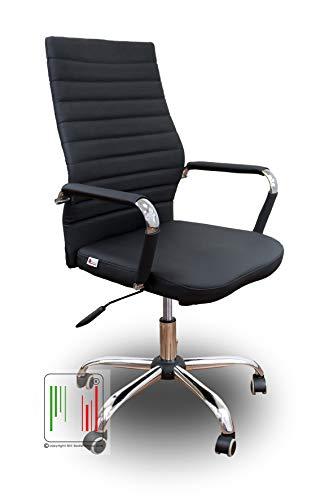 Stil Sedie - Poltrona da Ufficio per scrivania con Seduta in Ecopelle e Girevole con Base e braccioli in Acciaio Cromato Modello Dublino (Nero)