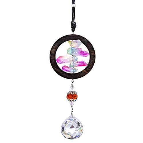 H&D Kristall Regenbogen Sonnenfänger,hängendes Fenster Sandelholz Anhänger,Glaskugel Prisma(Regenbogen Quarz)