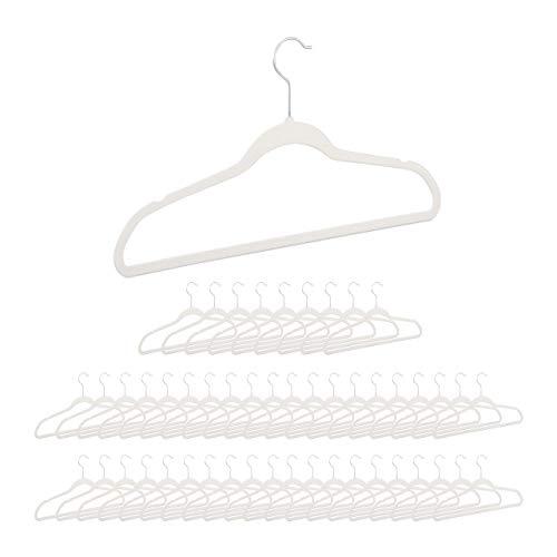 Relaxdays 50er Pack Kleiderbügel Samt, rutschfeste Garderobenbügel mit Hosenstange, Erwachsene, drehbarer Haken, weiß