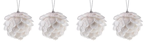 Clever Creations White Flower 4 Pack Christmas Tree Ornaments