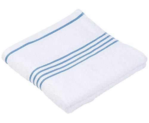 Handtuch Badehandtuch Sporthandtuch | 100% Baumwolle | Weiß-Blau | 50x100 cm