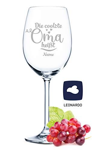 Leonardo Weinglas mit Gravur - Die coolste Oma heißt + Namens Gravur - Oma Geschenk als Geburtstagsgeschenk - Coole Omi & Großmutter