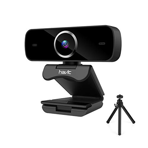 havit Webcam mit Stativ, Webcam mit Stereo Mikrofon, Full-HD 1080p, Autofokus, Belichtungskorrektur, Webkamera USB Plug&Play für Laptop, Computer, PC, Deskto