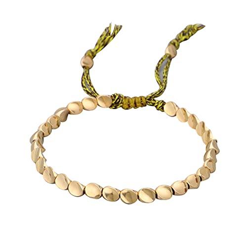 CHENLING Pulsera de cuentas de cobre tibetano hecha a mano para mujer, cadena ajustable de cuerda para hombres, pulseras de color dorado trenzado, bohemio, regalo de joyería vintage
