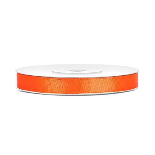 DaLoKu Satinband 6/12/25/38/50/100mm x 25m Geschenkband Schleifenband, Größe: 6mm x 25m, Farbe: Orange
