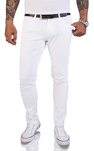Rock Creek Herren Jeans Hose Weiß Slim Fit Stretch Jeans Herrenjeans Herrenhose Denim Stonewashed Weisse Herren Jeans RC-2155 Snow White W38 L30